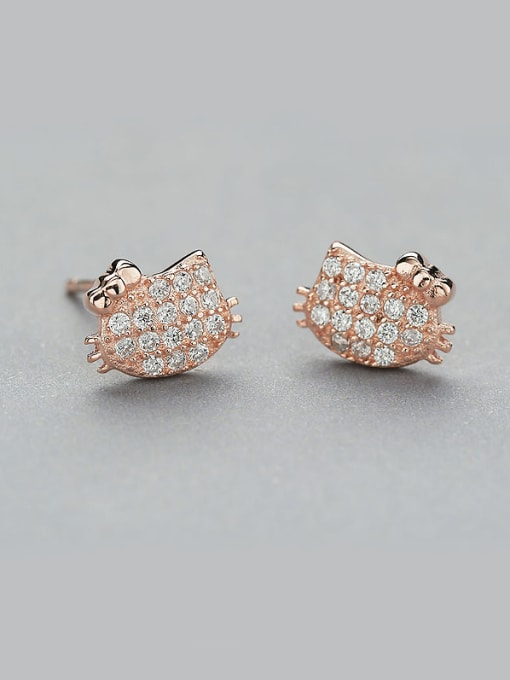 One Silver Rose Gold Plated Cat Zircon stud Earring