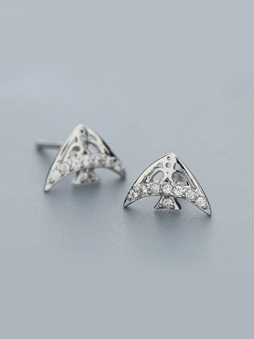 One Silver Lovely Tropical Fish Shaped stud Earring