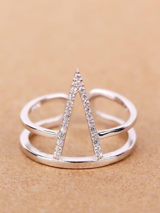 Peng Yuan Fashion Two-band Silver Opening Statement Ring