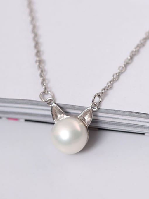 SILVER MI Exquisite S925 Silver Lovely Cat Clavicle Necklace 1