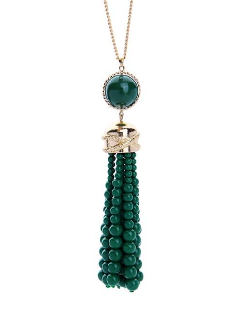 KM Long Tassel Stones weater Necklace 1