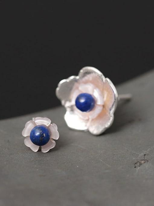SILVER MI Small Lovely Flower Shape stud Earring 2