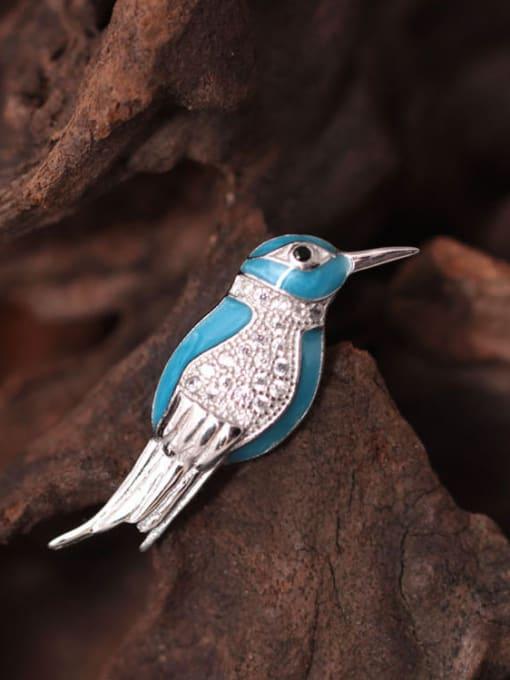 SILVER MI Lovely Kingfisher Enamel Brooch