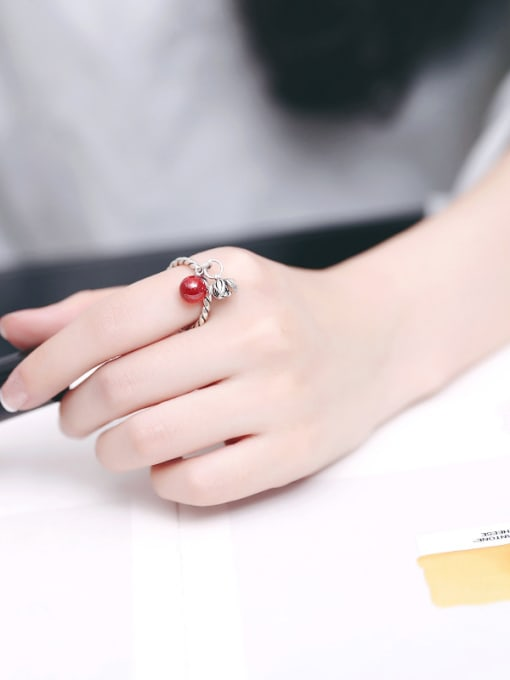 Peng Yuan Freshwater Pearl Garnet Flower Opening Ring 1