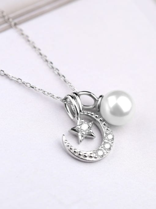 Peng Yuan Freshwater Pearl Moon Star Necklace 2