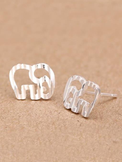 Peng Yuan Matte Tiny Hollow Elephant stud Earring 0