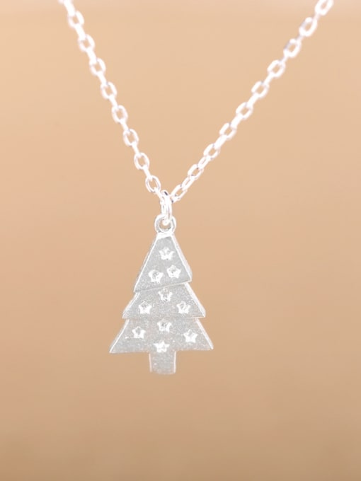 Peng Yuan Tiny Christmas Tree Silver Necklace 0