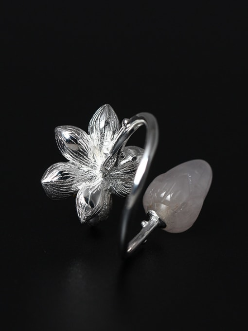 SILVER MI Color Crystal Lotus Opening Ring