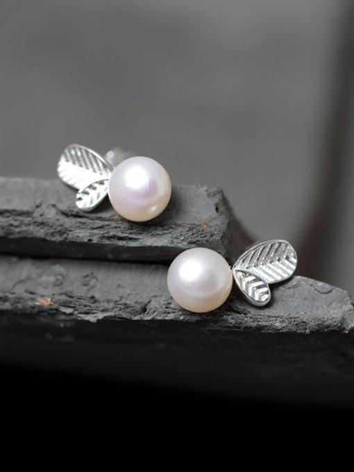 SILVER MI Freshwater Pearls S925 Silver Stud Earrings 1