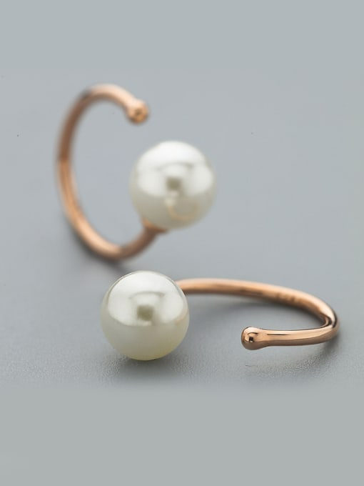 One Silver Rose Gold Plated C Shaped Pearl Earrings 1