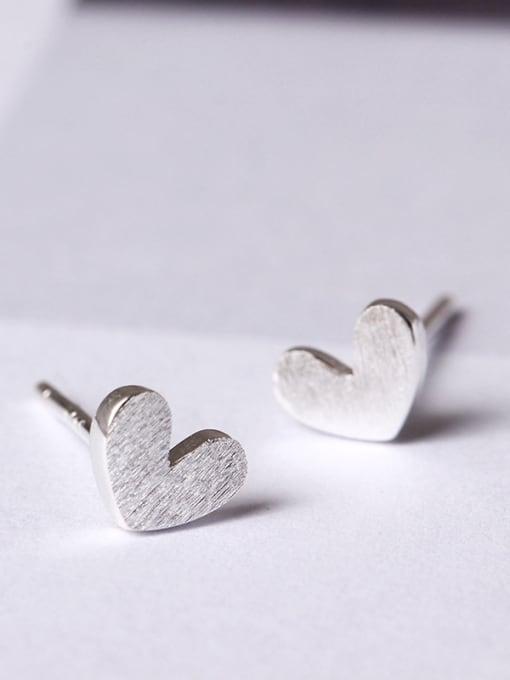 SILVER MI Heart-shape Women stud Earring