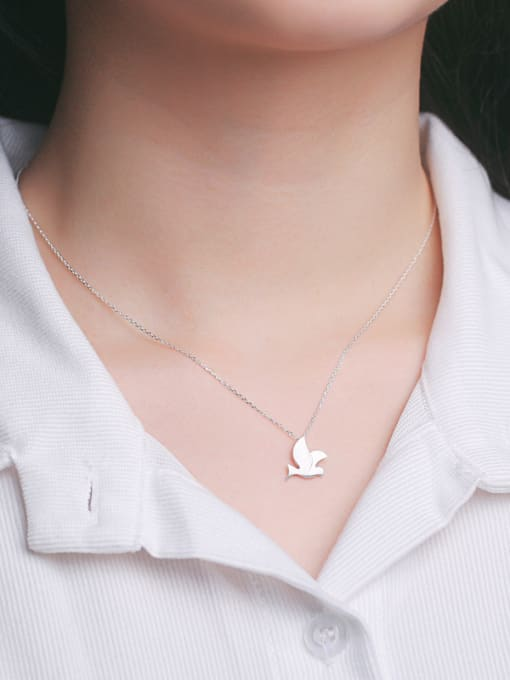 Peng Yuan Simple Peace Dove Silver Necklace 1