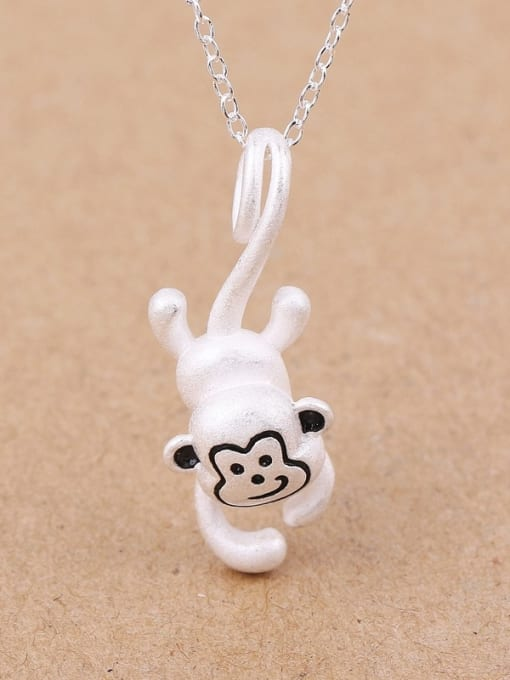 Peng Yuan Lovely Jumping Monkey Silver Pendant