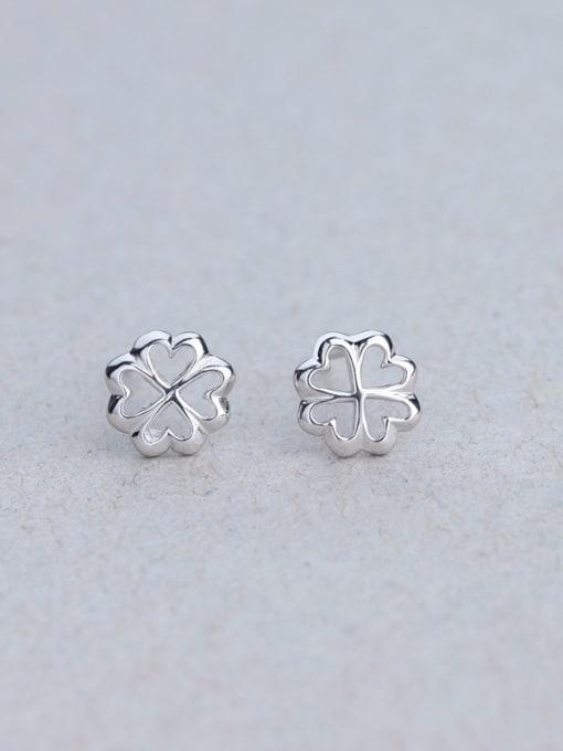 One Silver Fashion 925 Silver Snowflake Shaped stud Earring 2