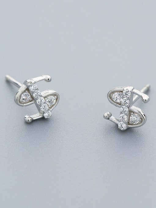 One Silver Fashion Style S Shaped Stud Earrings 2