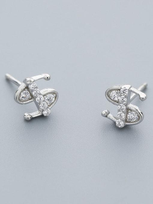 White Fashion Style S Shaped Stud Earrings