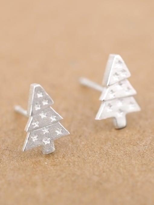 Peng Yuan Little Christmas Tree Silver stud Earring 2