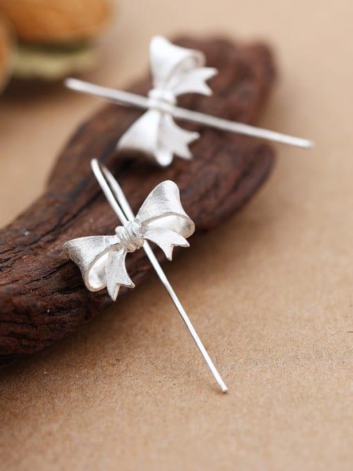 Peng Yuan Simple Little Bowknot Silver hook earring 1