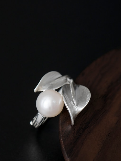 SILVER MI Leaves-shape Personality Adjustable Statement Ring 1