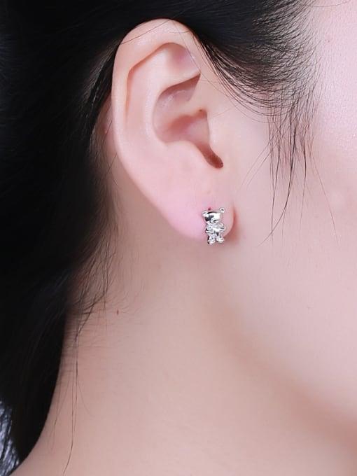 One Silver Cute Bear Shaped Stud cuff earring 1