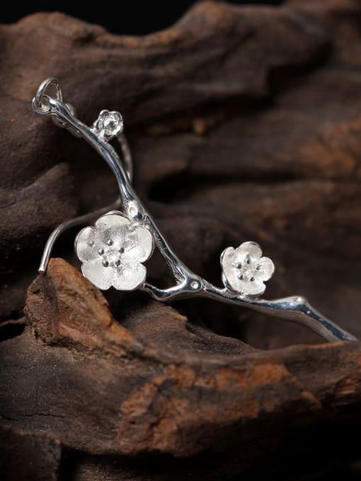 SILVER MI Silver Asymmetry Hypoallergenic Drop hook earring 1