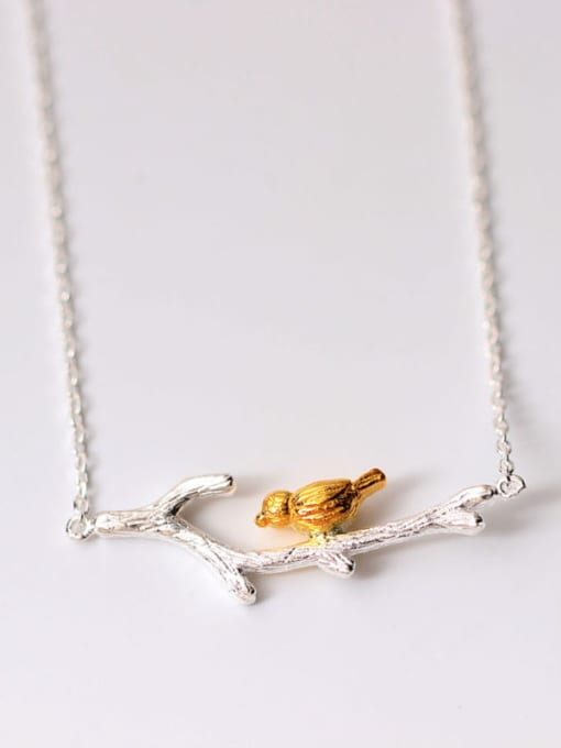 SILVER MI Two Color Plated Branch Bird Necklace