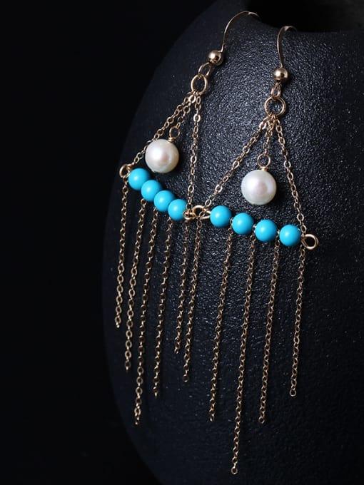 SILVER MI 4K Gold Natural Pearl Tassel Drop Earrings 0