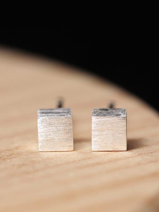 SILVER MI Geometric Square Simple Stud Earrings