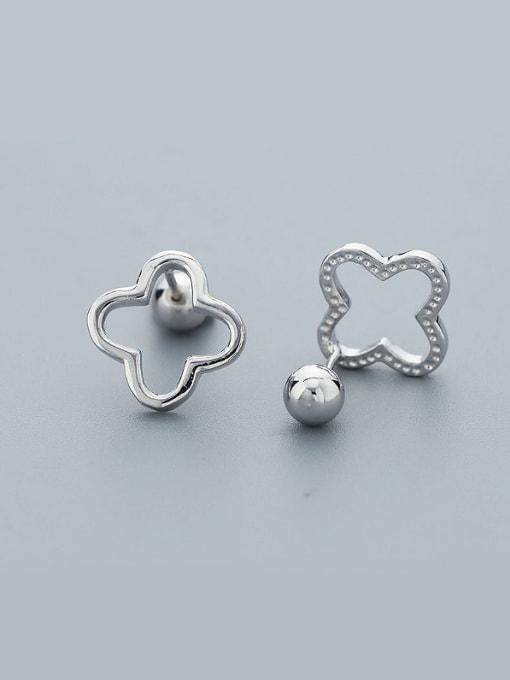 One Silver Women Temperament Flower Zircon Earrings
