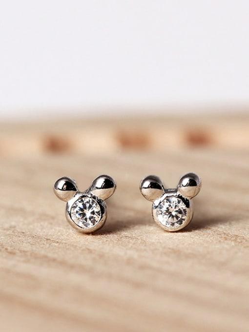 SILVER MI Lovely Mickey Cartoon Mouse stud Earring