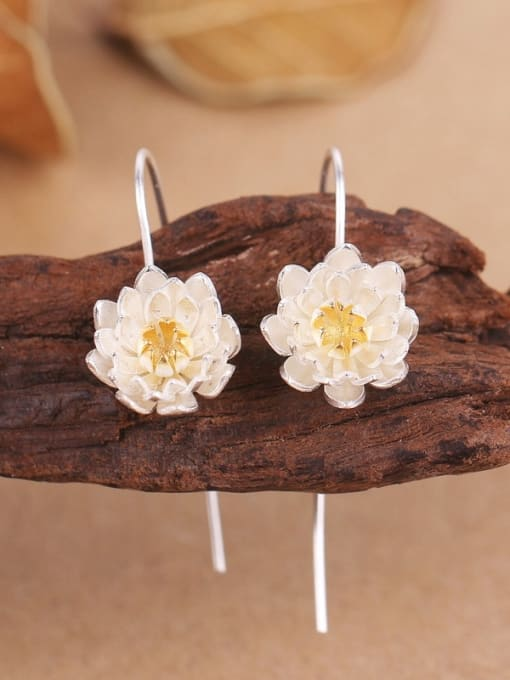Peng Yuan Ethnic Lotus Flower Silver hook earring