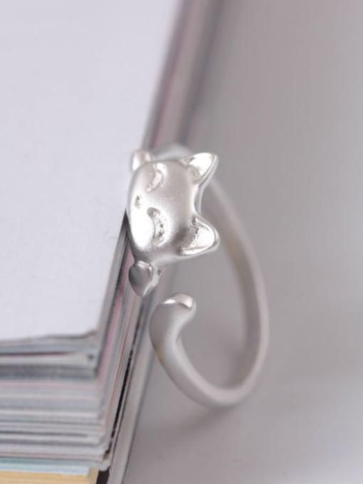 SILVER MI Fashion Lucky Cat Opening Ring 2