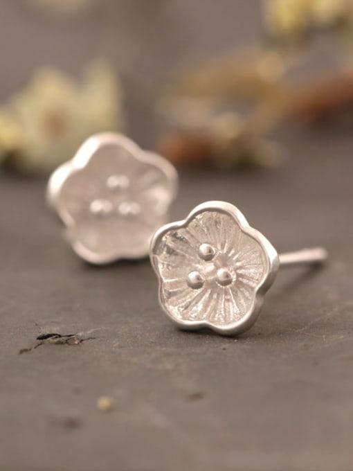 SILVER MI Lovely Plum Blossom Stud Earrings 1