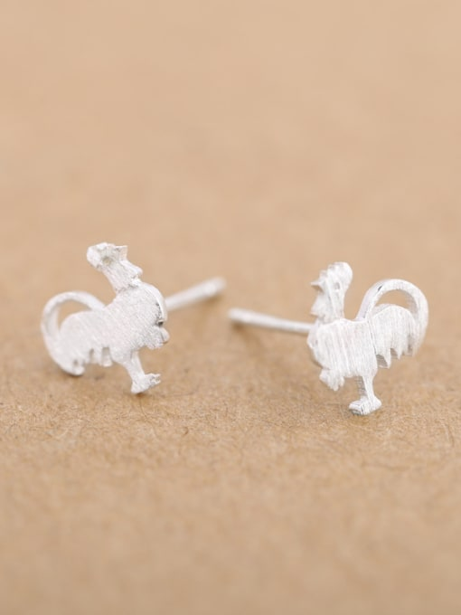 Peng Yuan Personalized Rooster Silver stud Earring 2