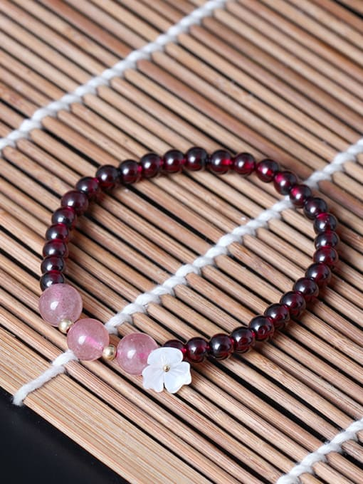 SILVER MI Natural Garnet Shell Flower bracelet 0