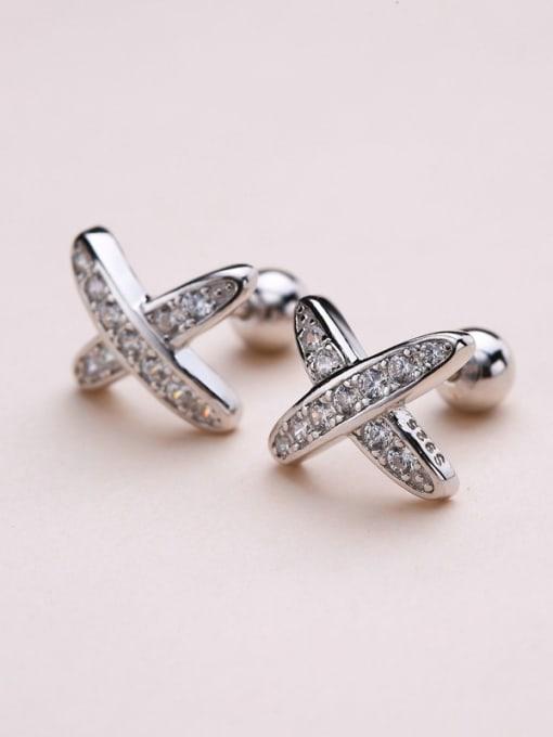 One Silver 925 Silver X Shaped Zircon Earrings 2