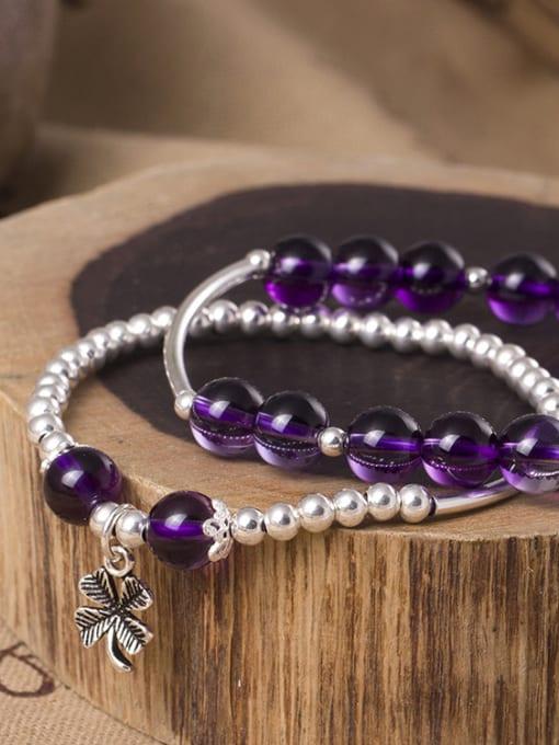 SILVER MI S925 Silver Temperament Amethyst Bracelet 1