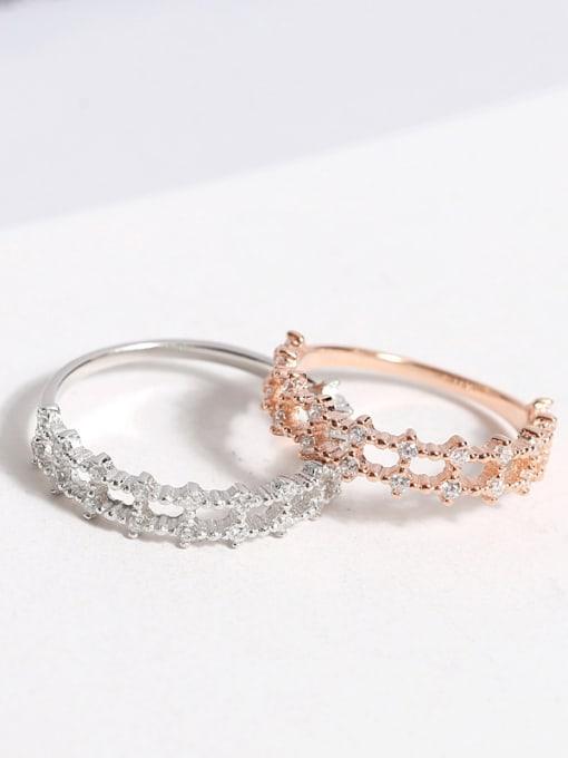 Peng Yuan Fashion Double Row Zircon Silver Ring 3