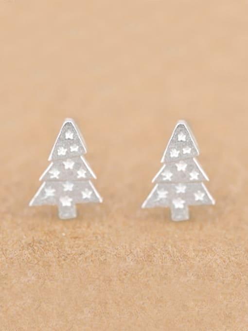 Peng Yuan Little Christmas Tree Silver stud Earring 0