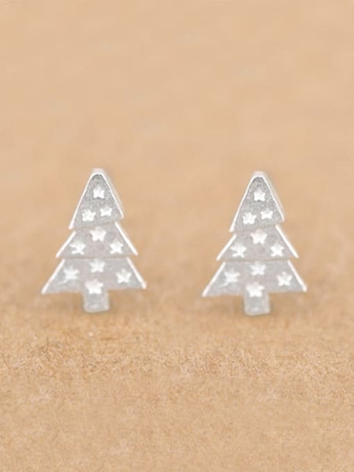 Peng Yuan Little Christmas Tree Silver stud Earring
