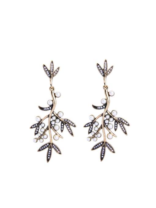 KM Leave-shape Artificial stones Stud Chandelier earring