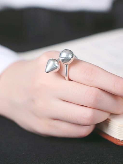 Peng Yuan Geometrical Handmade Silver Opening Ring 1