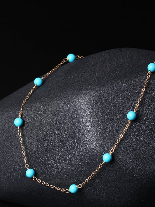 SILVER MI Fashionable Blue Turquoise Clavicle Necklace 2