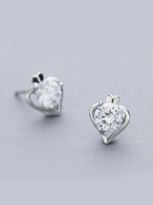 One Silver Elegant Heart Shaped stud Earring