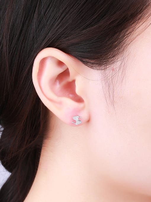 One Silver Fashion Style S Shaped Stud Earrings 1