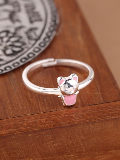 Peng Yuan Tiny Cartoon Bear Silver Midi Ring 2