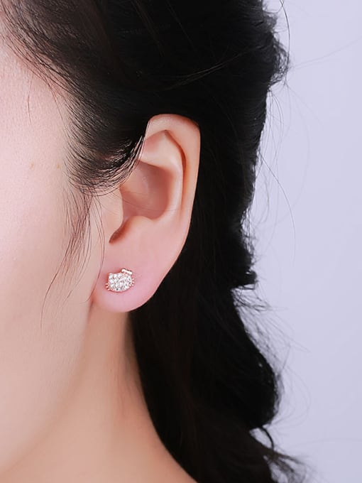 One Silver Rose Gold Plated Cat Zircon stud Earring 1