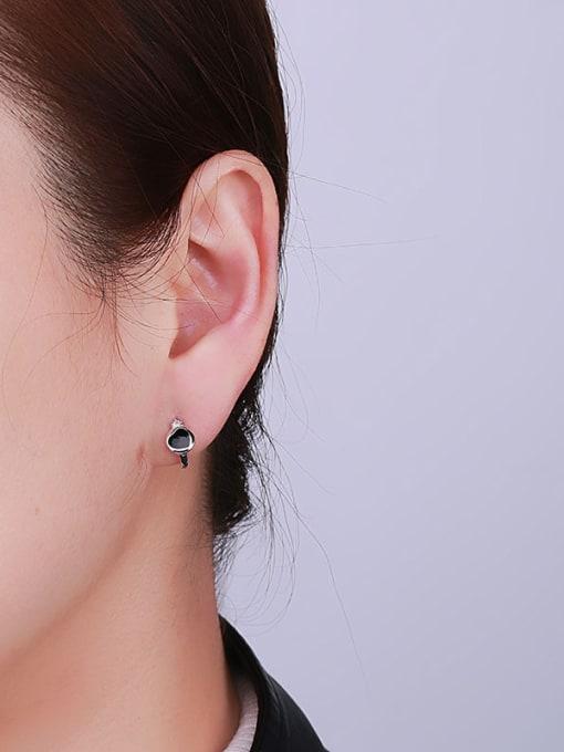 One Silver Trendy Heart Shaped Stud Earrings 1