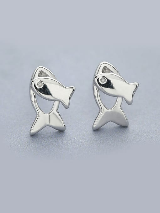 One Silver Women Fresh Fish Shaped stud Earring 0