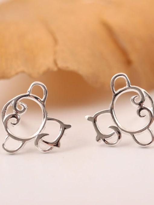 SILVER MI Hollow Monkey Shape Stud Earrings 1